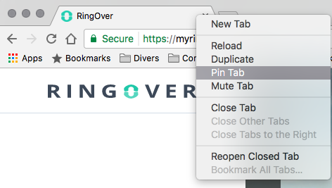 Pin the RingOver tab