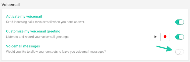 switch to activate voicemail messages