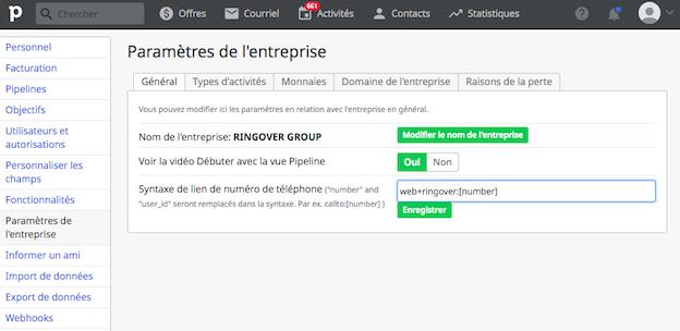 screenshot de l'intégration Ringover dans Pipedrive