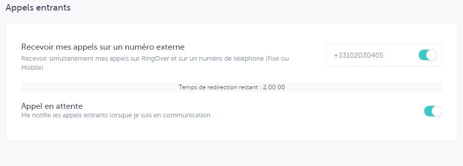 capture d'écran du renvoi d'appel
